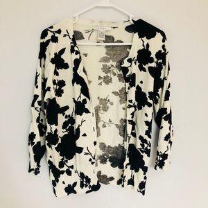 Black and Cream Floral Print 3/4 Sleeve Cardigan